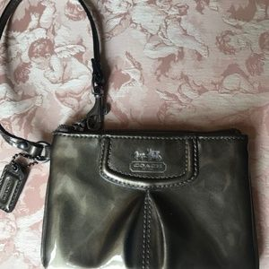 Olive Patent Leather Coach Wristlet